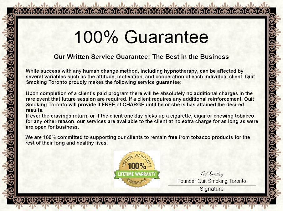 Quit Smoking Toronto Guarantee Certificate